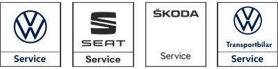 Logotyper Volkswagen, Seat, Skoda och Volkswagen transportbilar